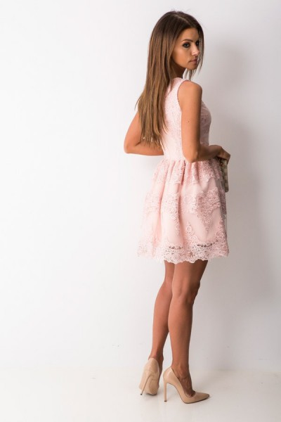 Katherine Sukienka Koronkowa Mini Róż