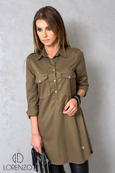 Koszula Tunika Khaki Pagony