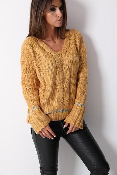 Sweter Pleciony Miodowy