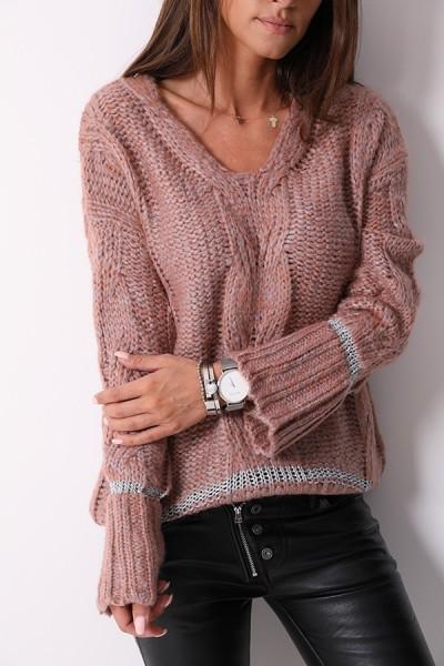 Sweter Pleciony Róż