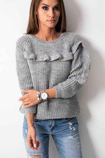Sweter Falbanka Szary