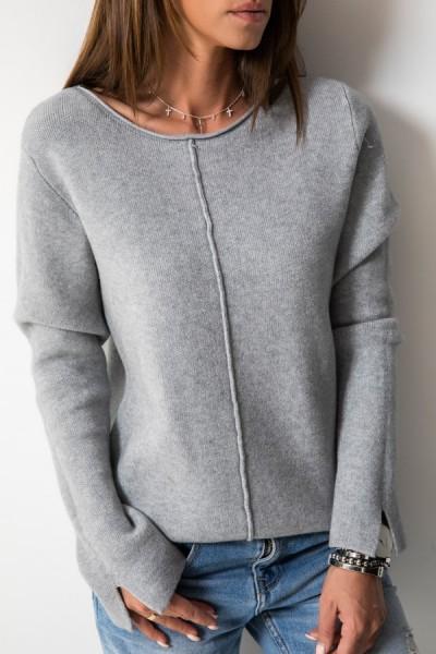 73007 Sweter Włoski Szary