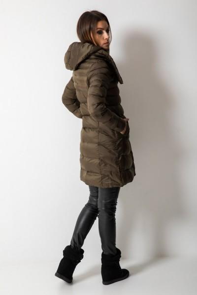 Taliowany Płaszcz Pikowany Khaki