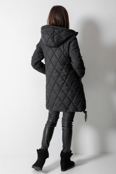 Płaszcz Pikowany Romby Czarny