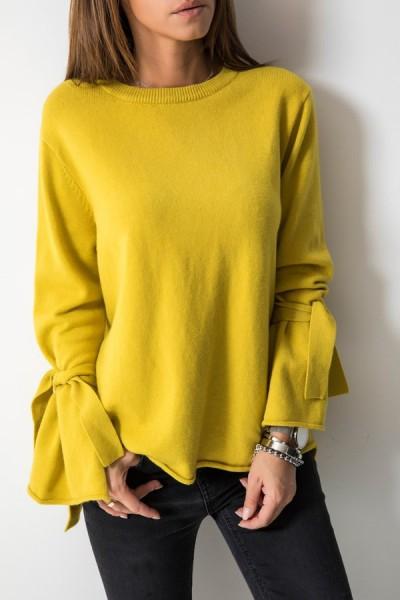 216 Sweter Włoski Musztardowy