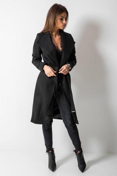 Wełniany Płaszcz Czarny