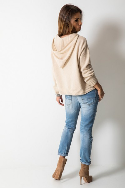 Wełniany Sweter Kaptur Beż