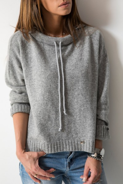 Wełniany Sweter Kaptur Szary