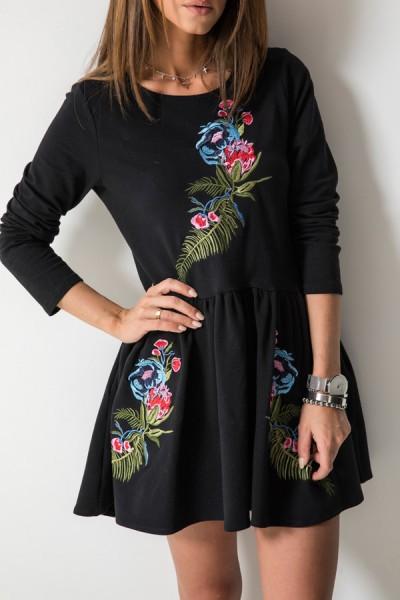 Katie Sukienka Kwiaty Czarna