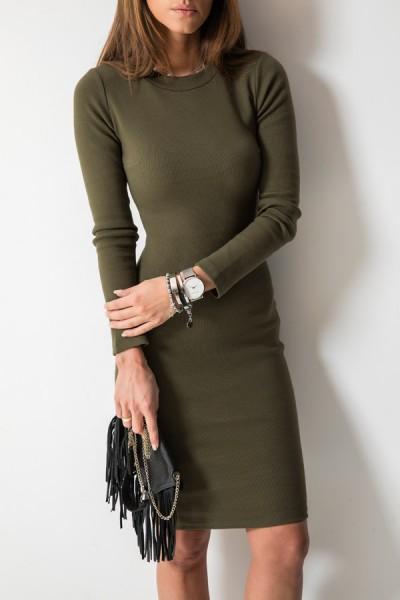 Kobieca Dopasowana Sukienka Midi Khaki