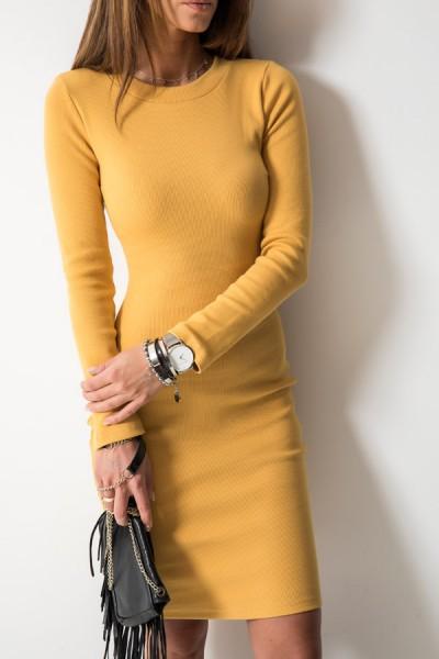 Kobieca Dopasowana Sukienka Midi Musztardowa
