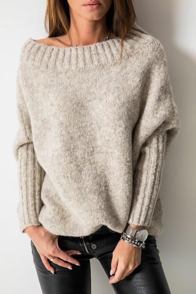 Sweter Logo Beż