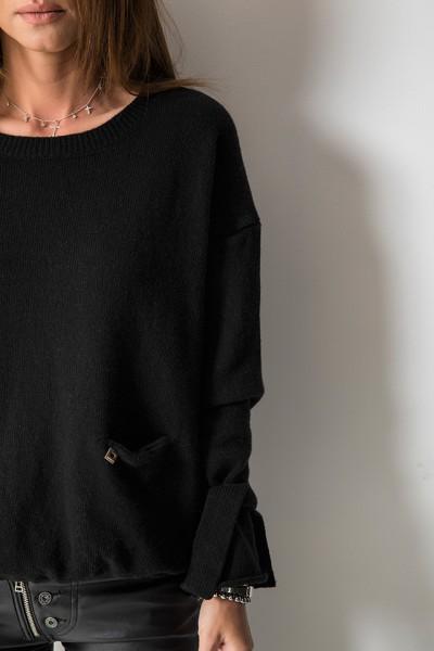 Wełniany Sweter Kieszonka Logo Czarny