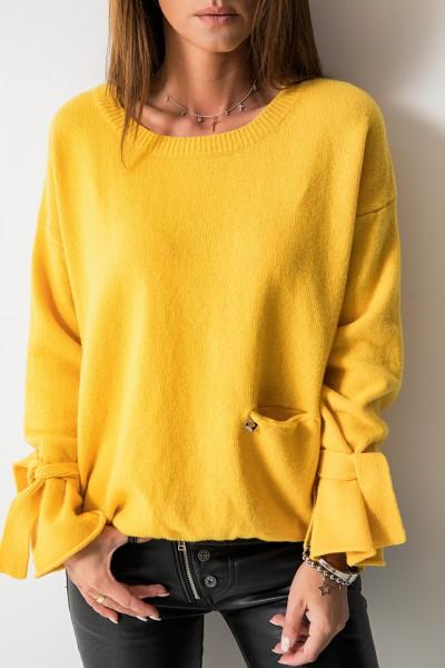 Wełniany Sweter Kieszonka Logo Żółty