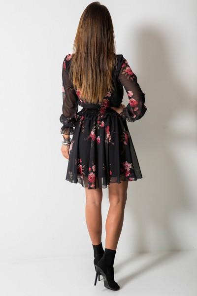 Elise Sukienka Kwiaty Czarna