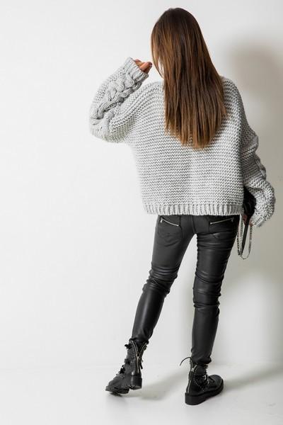 Sweter Oversize Warkocz Szary