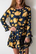 Gloria Sukienka Kwiaty Granat