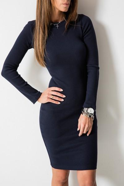 Kobieca Dopasowana Sukienka Midi Granatowa