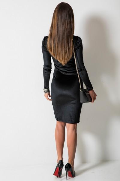 Aksamitna Dopasowana Sukienka Midi Czarna