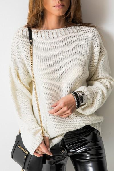 Sweter Włoski Farba Ecru