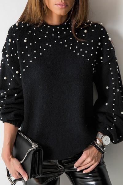 Sweter Pearls Czarny