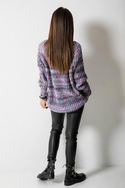 Sweter Asymetryczny Multicolor Wrzosowy