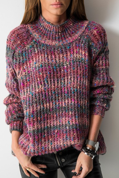 Sweter Asymetryczny Multicolor Róż