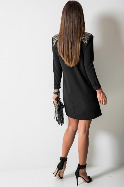Mirage Sukienka Włoska Koraliki Czarna