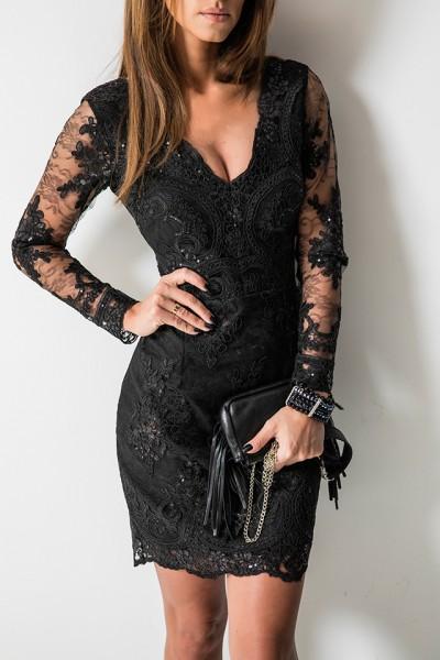 Koronkowa Sukienka Lady Czarna