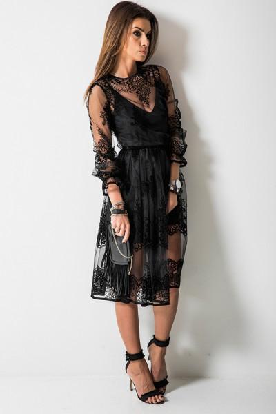 Carmen Sukienka Kwiaty Czarna