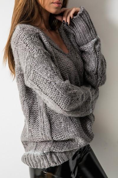 Sweter Pleciony Szary