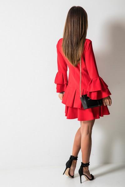 Alexis Sukienka Falbany Czerwona