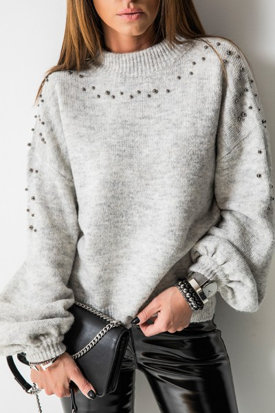 Sweter Silver Pearls Szary