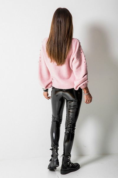 Sweter Silver Pearls Różowy