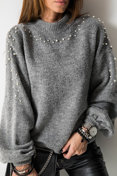 Sweter White Pearls Grafit