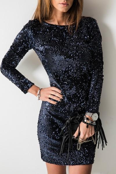Glamour Sukienka Cekiny Granatowa