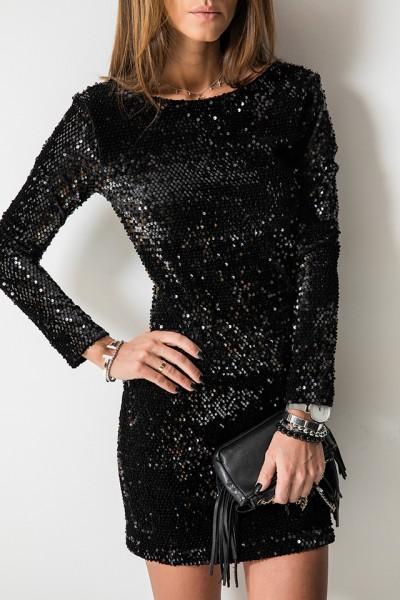 Glamour Sukienka Cekiny Czarna