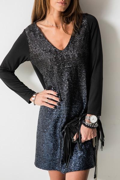 Julie Sukienka Cekiny Black/Blue