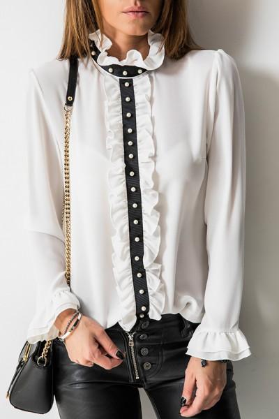 Włoska Koszula Żabot Perły Biel