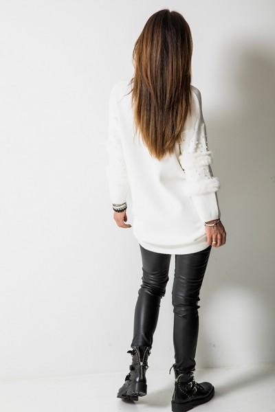 Sweter Lis Perły Long Biały
