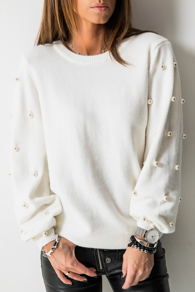 Sweter Perły Biel