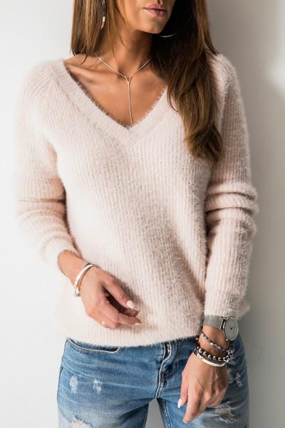 SC1750 Sweter Dekolt Róż