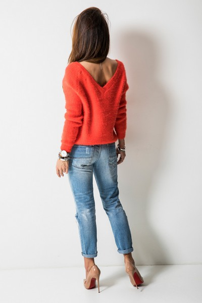 SC1750 Sweter Dekolt Orange