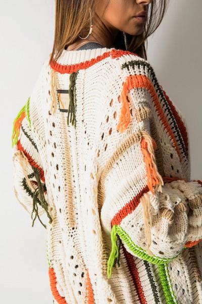 Sweter Kolorowe Włóczki Beż