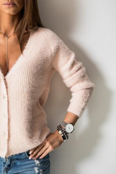 M808 Sweter Zapinany Róż