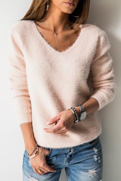 K7899 Klasyczny Sweter Róż