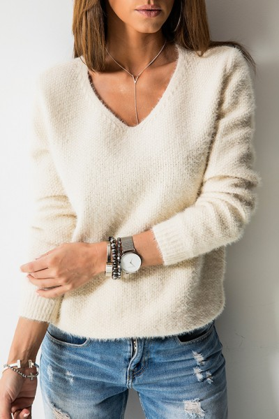 K7899 Klasyczny Sweter Beż