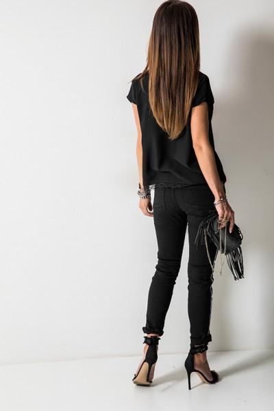 8166 Spodnie Lampas Czarne