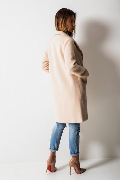 Luksusowy Dwurzędowy Płaszcz Beż
