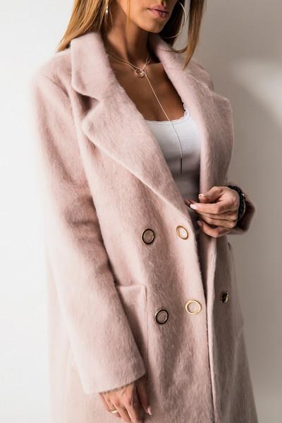 Luksusowy Dwurzędowy Płaszcz Róż